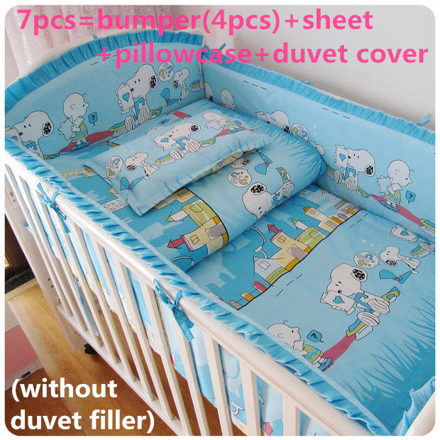 Promotion! 6/7PCS 100% cotton crib bedding set of unpick and wash baby bedding set bed sheets , 120*60/120*70cm