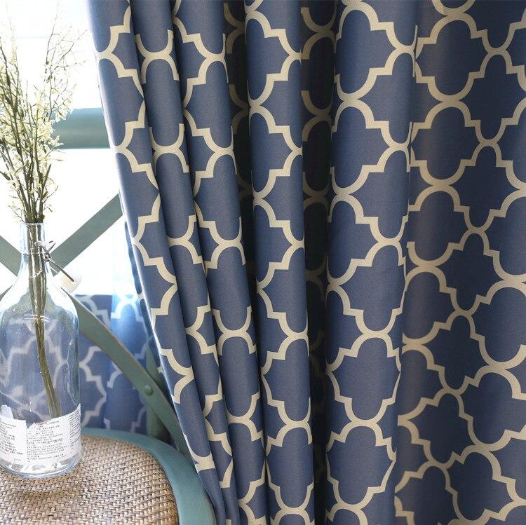 Cortinas para sala de estar jantar quarto 2 cores telas impressão aldeias americanas minimalista estilo europeu cortina blackout