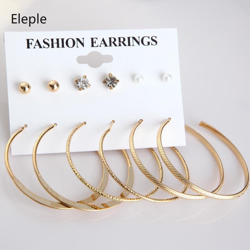 Eleple Euro American Big Circle Earrings 6 Pieces Set Earrings Pearl Earrings Female Earrings Set C9G27 in Stud Earrings from Jewelry Accessories