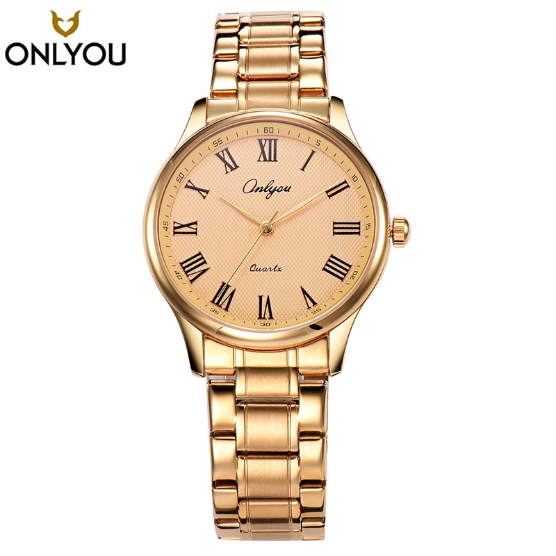 Onlyou 2017 Fashion Luxury Women Watch Full Gold Stainless