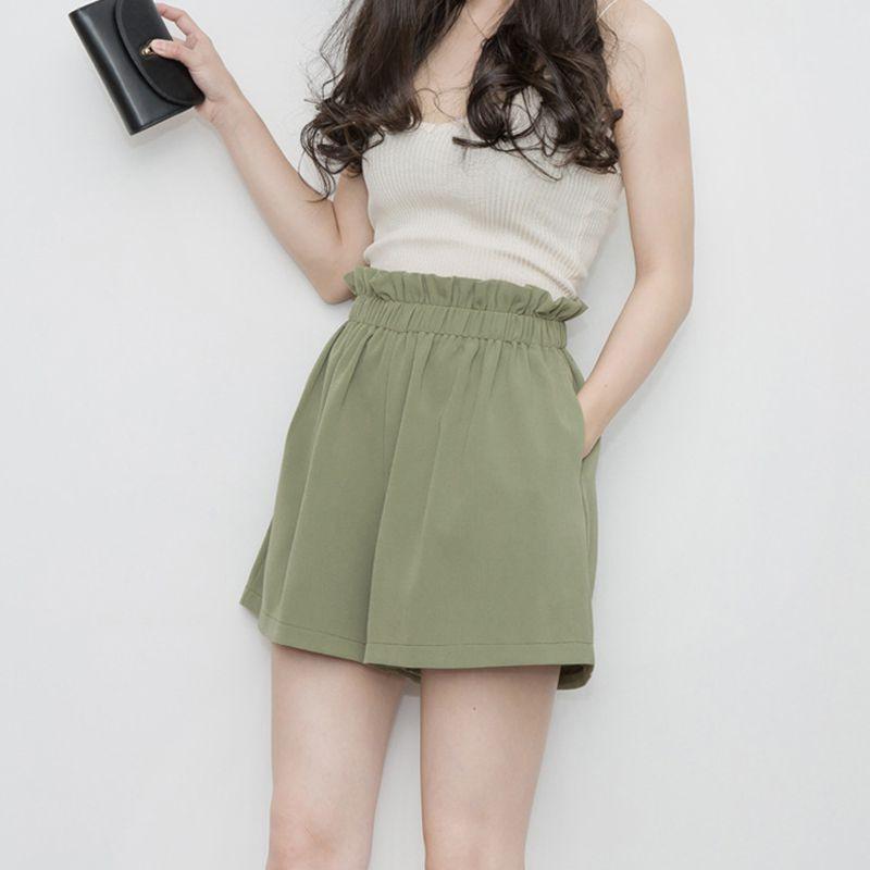 Ruffles High Elastic Waist Skirt Shorts For Women Pocket Summer Wide Leg Shorts A-line Shorts Casual Loose Straight Cortos Mujer