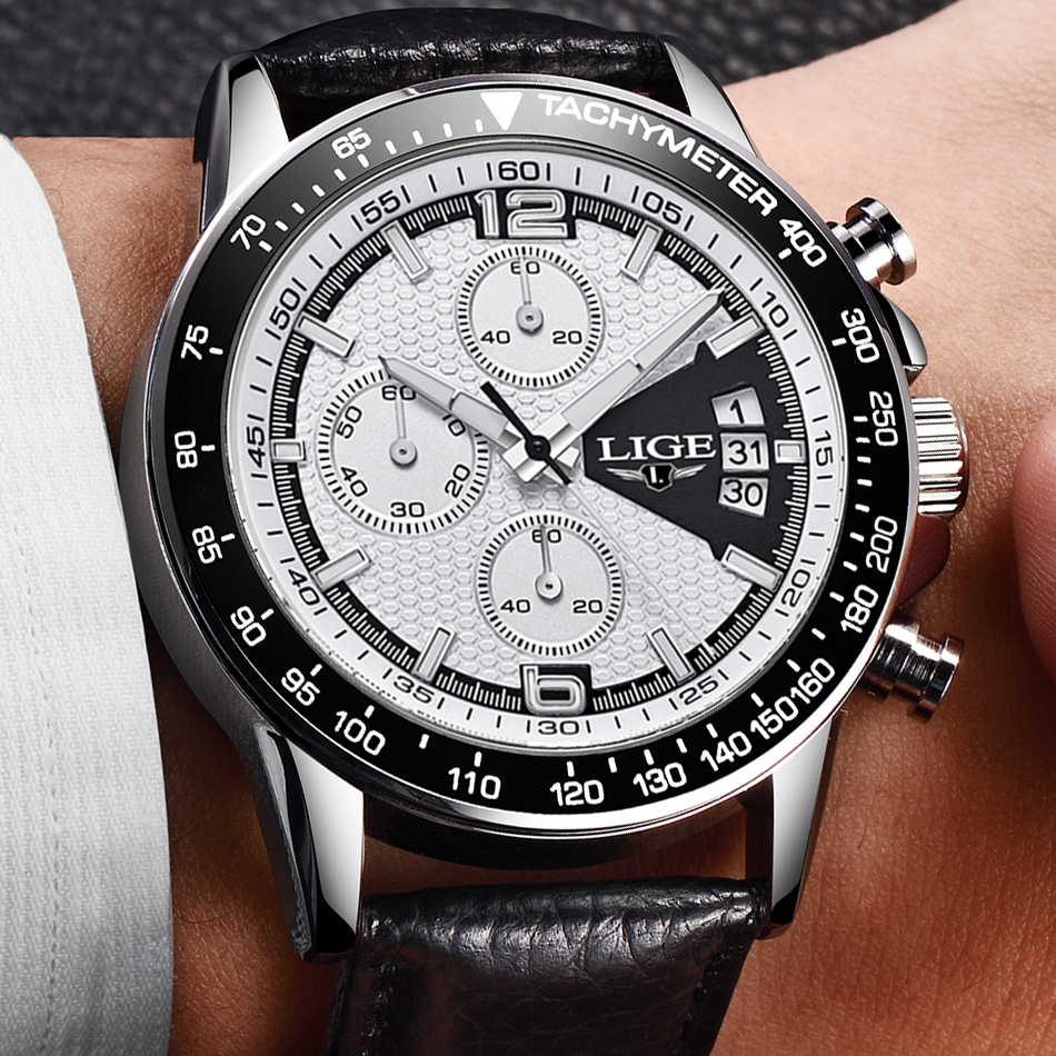 LIGE Mens Watches Large dial design Chronograph Sport Fashion Brand Military waterproof Quartz Watch Clock Relogio Masculino+Box