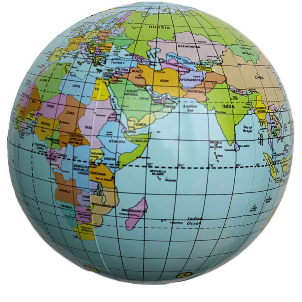 Round Globe Map.Early Educational Inflatable Round Earth World Teacher Geography Toy