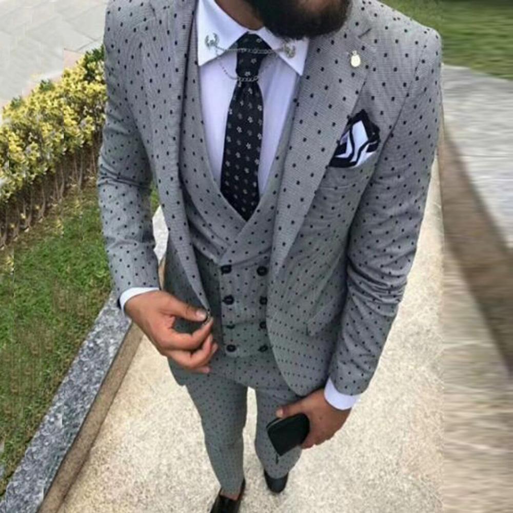 Trajes de hombre de punto de la onda de tres piezas traje de chaqueta para hombre Casual de cercanías Oficina trajes para la boda (chaqueta + chaleco + Pantalones)