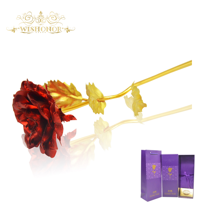 2017 Hot Sale Valentinsdaggåvor 25cm Längd 24k Röd Guld Rose, Red - Semester och fester
