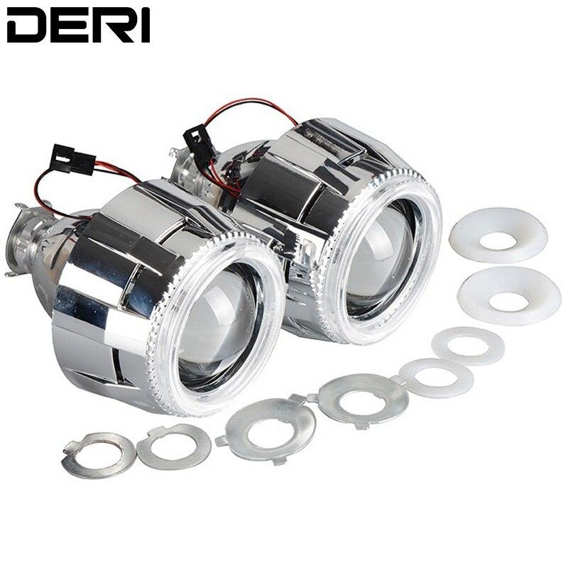 2.5 pouces 35 W LHD HID Bi xénon projecteur lentille phare 6000 k avec CCFL blanc ange oeil argent linceul H4 H7 adaptateurs Ballast