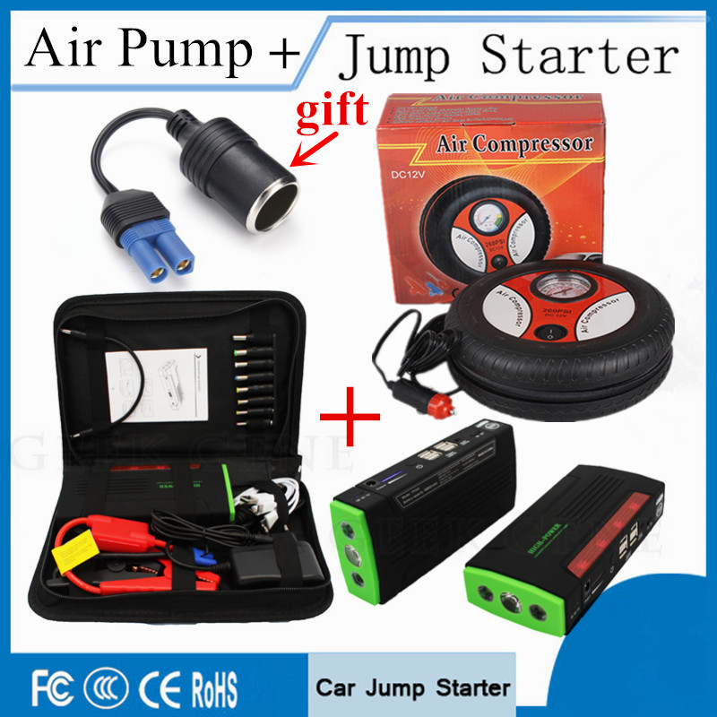 High Power 68800mAh Car Jump Starter & Air Pump Portable Lighter Starting Device 12V 600A Peak Car Charger for Battery Booster