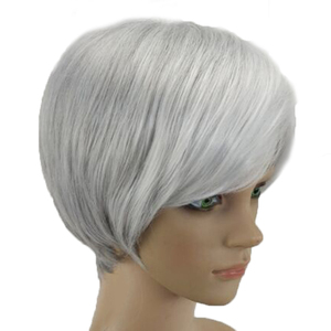 Image 4 - HAIRJOY Synthetic Hair Wig  Woman Gray White Short Straight Heat Resistant Wigs