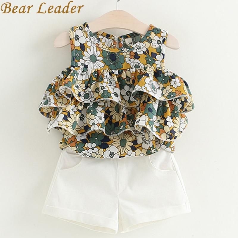 цена  Bear Leader Girls Sets 2017 New Popular Girl Children Clothing Sets Kids Sleevelessl O-Neck Floral Shirt+ White Pants 2Pcs Suit  онлайн в 2017 году