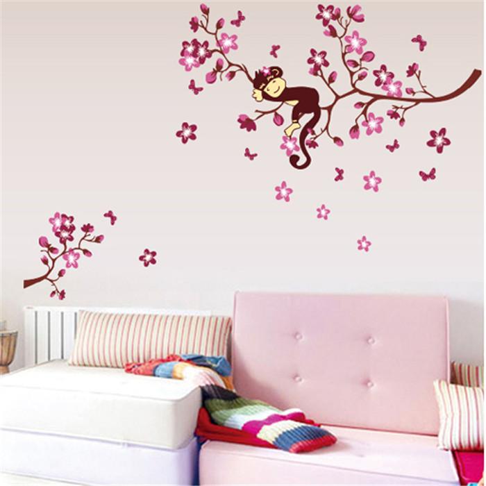 diy rosa rama mono animales pegatinas de vinilo de pared para niuntildeos muchacha