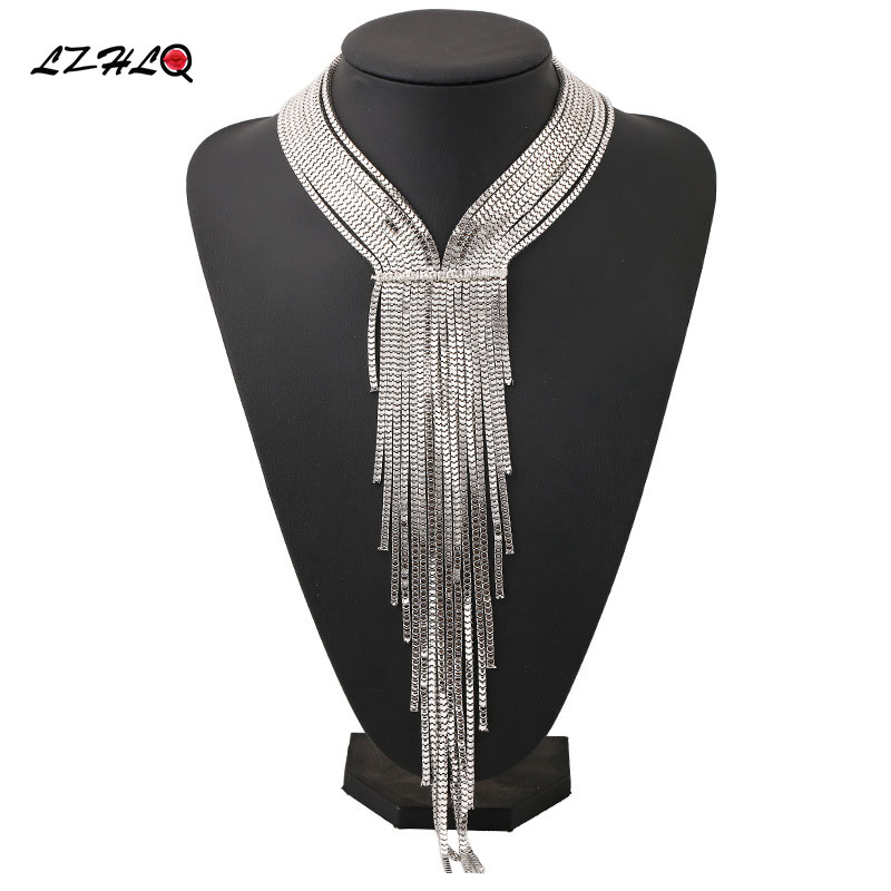 LZHLQ Bohemian Style Women Overdreven Big Necklace Women smykker Long ChainTassel Personality Statement Style Choker collares