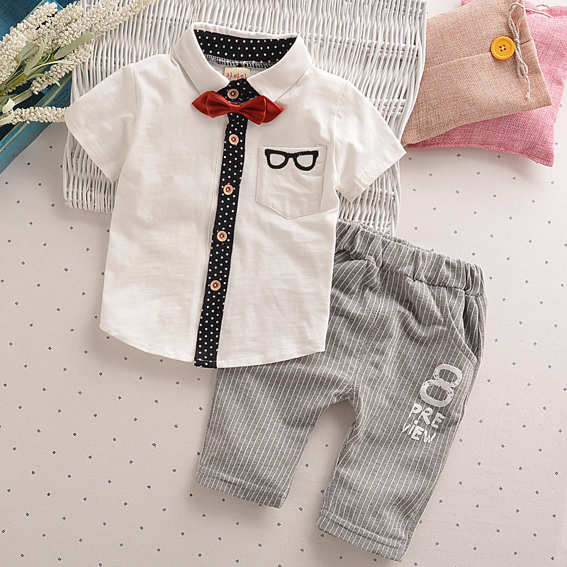 Retail Toddler Children Clothes Summer Baby Boys Clothing Sets Gentleman Clothes Suits Kids Sweatshirt Child Formal Shirt+short baby boys kids formal suits summer boy gentleman clothes set short sleeve shirt gray overalls trousers outfit for children