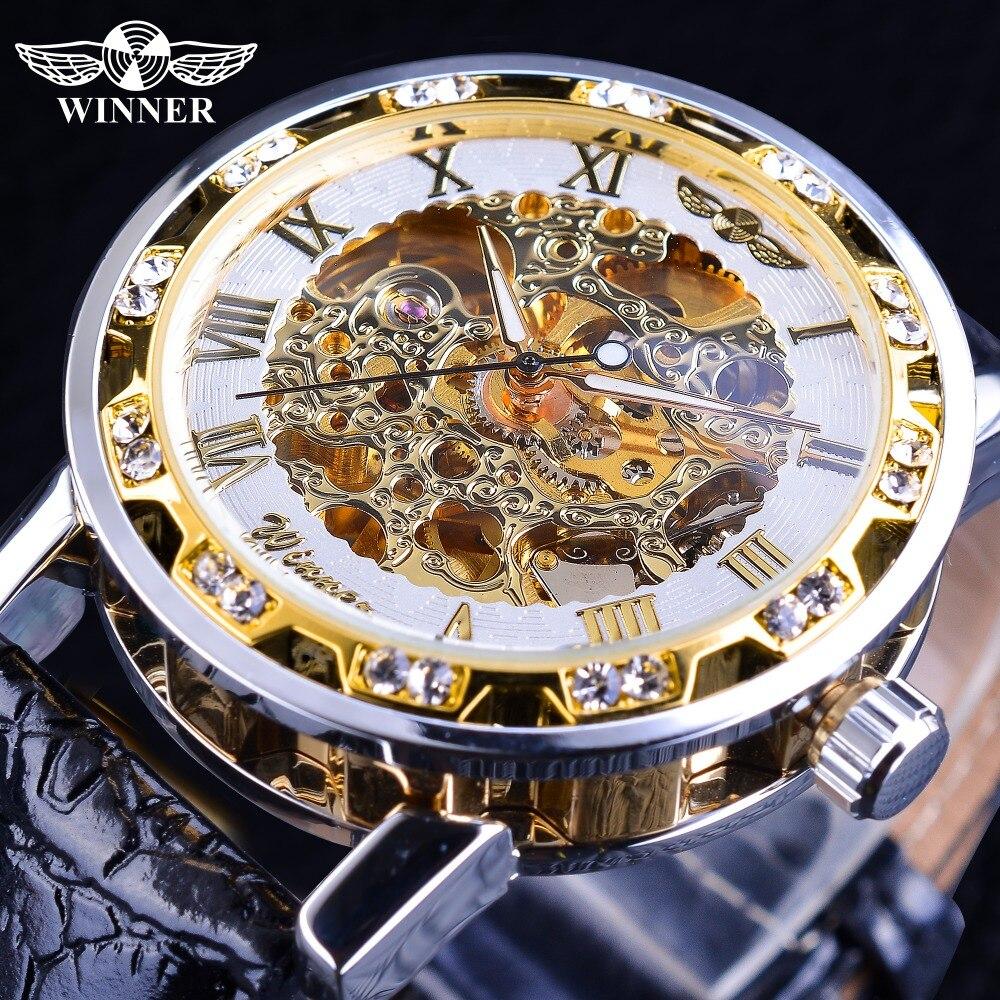 0e47e51612a Vencedor Novos Relógios Mecânicos Diamante Retro do Projeto Da Flor Branca  de Exibição dos homens de