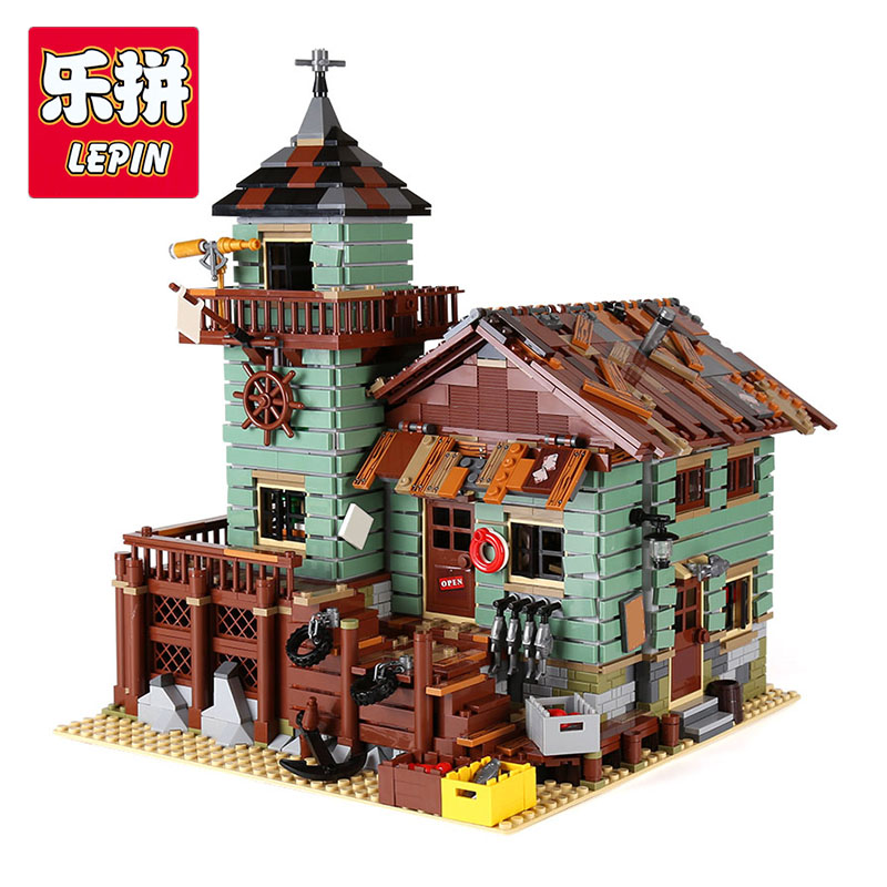 Lepin 16050 2294Pcs Old Fishing Store Genuine MOC Series Building Blocks Bricks Educational Toy Model Compatible With lego 21310 lepin 16050 model building kits compatible with lego 21310 2109pcs moc series the old fishing store set building blocks bricks