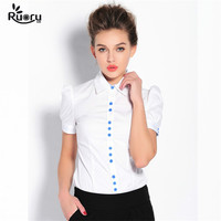 Ruoru Corpo Desgaste Do Escritório de Estilo Europeu de Alta Qualidade Botão de Camisa Azul Blusa Escritório Roupa de Trabalho Formal Blusa Femme Tops Feminino