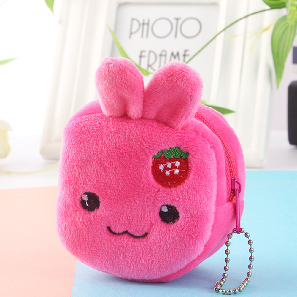 Cartoon Portable Stereo Gift Large Capacity Girls Cute Zipper Money Bag Soft Mini Coin Purse Key Plush(China)