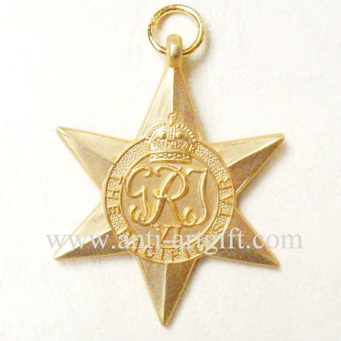 Военные Медали Золото 3D Звезда Форма Корона принять индивидуальные