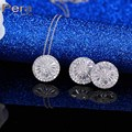 Fashion Ladies Evening Party 2 Pcs Jewelry Sets Big Round Hearts And Arrows Cubic Zircon Crystal Necklace And Earrings J176
