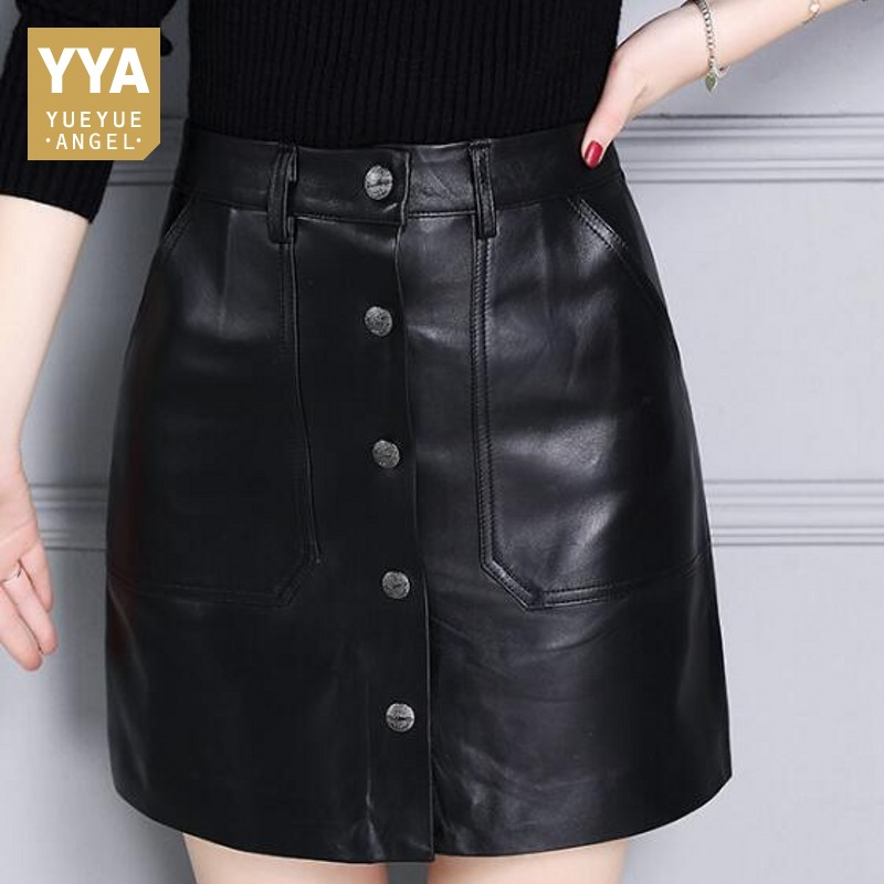 2018 New High Waist Real Leather Mini Skirt Women England Style Button Pocket Black Wrap Skirt Brand Sexy A-Line Skirt Femme black sexy leather lace up side high waist split mini skirt