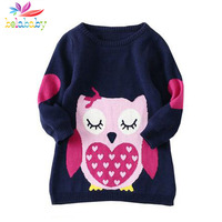 Girls Autumn Sweater 2015 New Fashion Children Long Sleeve Knitting Warm Clothing Kids Cartoon Cotton Sweaters