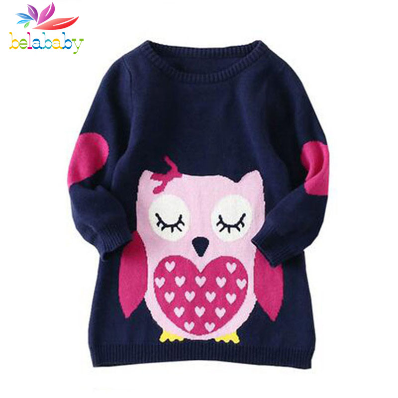 Belababy Brands Baby Girls Tröjor Winter 2019 New Girl Long Sleeve Stickade Kläder Kids Autumn Cartoon Owl Sweater For Girls