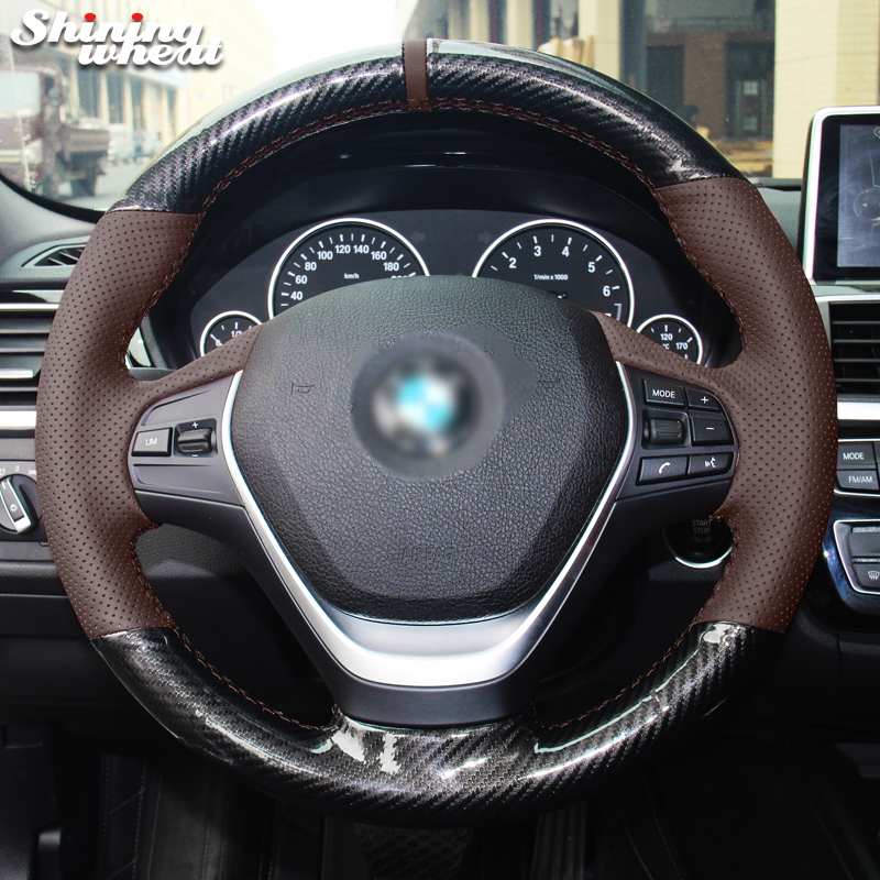Shining wheat Palm Red Genuine Leather PU Carbon Fiber Steering Wheel Cover for BMW 316i 320i 328i 320d F20 F45 F30 F31 F34 F32 стоимость