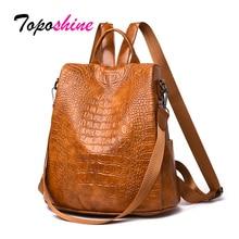 Toposhine New Women Leather Backpacks Luxury Female Vintage Shoulder Bags Leisure Ladies Crocodile Pattern Anti-theft Backpack