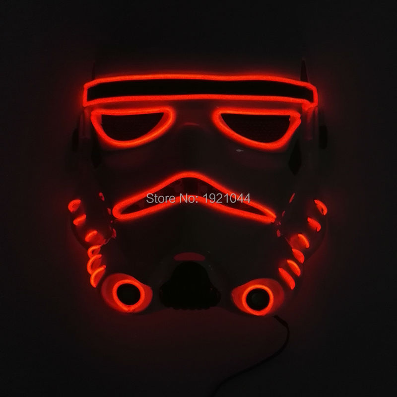 10 color choice Sound activated fashion Movie Theme Halloween Mask EL Wire LED Neon light Glow Party Mask Powered by 2AA Battery