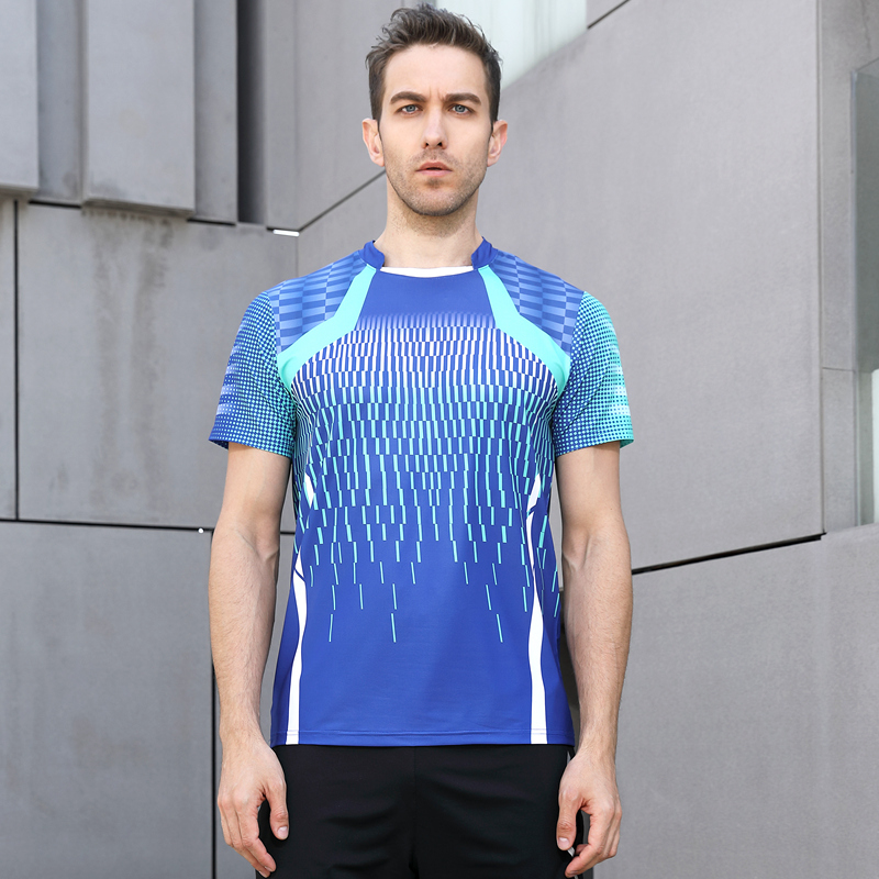 High Quality Blue Mens Running Sport Outdoor Fitness Gym Quick Dry Comfort Breathable Badminton Shirt,Men Table Tennis T Shirts