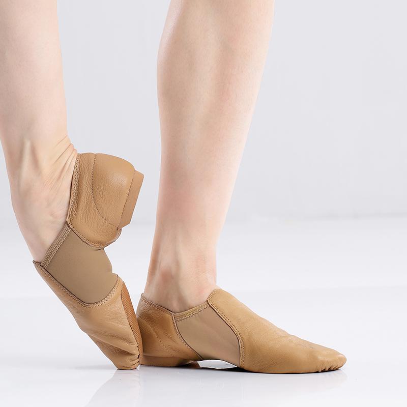 Jazz Dance Shoes Men Genuine Leather Soft Dancing Sneakers Woman Gymnastics Dance Shoes Unisex Slip On Jazz Dance Shoes Tan