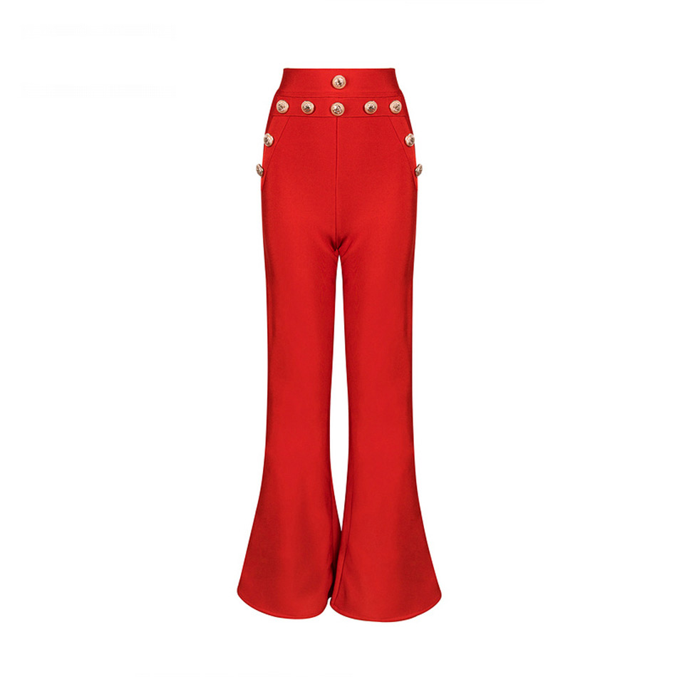 Image 5 - Seamyla 2020 New Summer Flare Pants Women Sexy Skinny Pant High  Waist White Red Black Trousers Party Bodycon Bandage Pants Longflare  pantsbandage pantsflare pants women