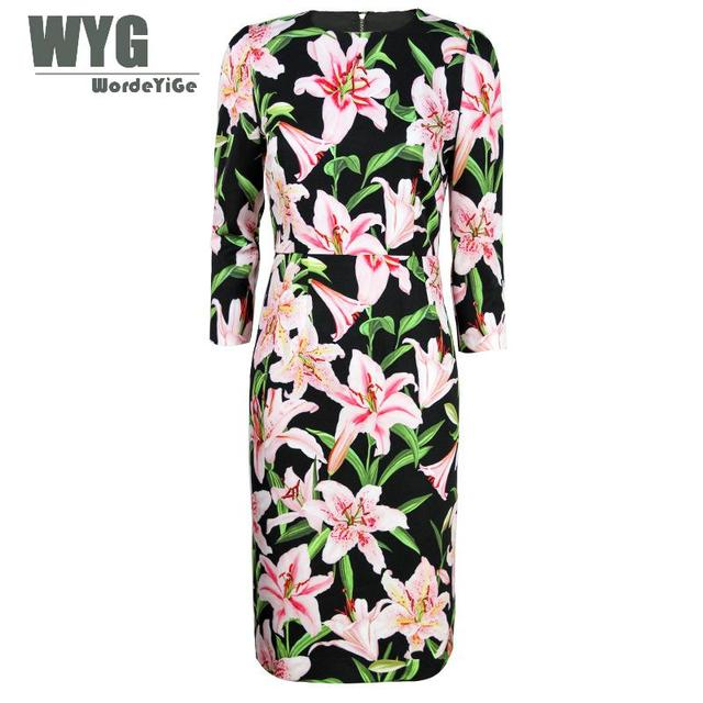 a23b585e70 Lily Dress For Women 2019 Spring Summer Ladies European Fashion Flowers  Printed Beige Black Bodycon Knee Length Pencil Dresses