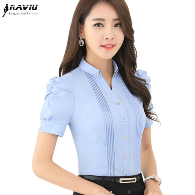 b6e342497fbb5e Fashion V-Neck short sleeve slim women shirt OL Formal Business puff sleeve  chiffon blouse office ladies plus size wor wear tops