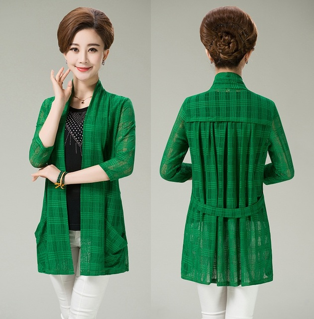 2017 Plus Size 5XL Spring Summer Middle Aged Women Cardigan Thin ...