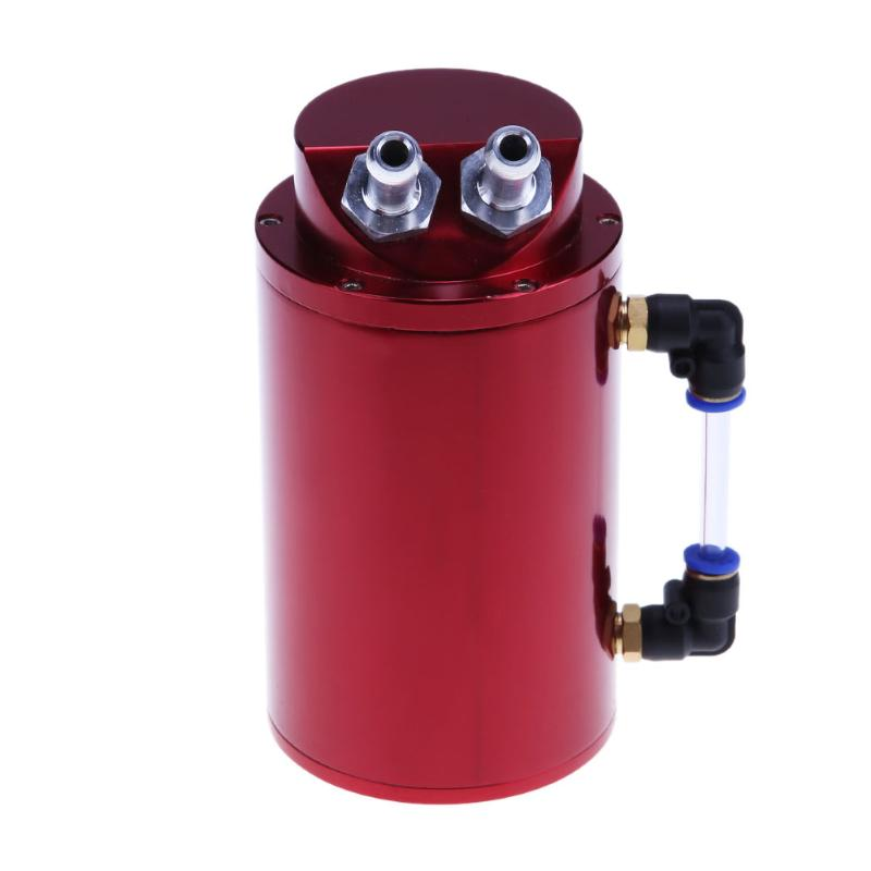 Universal Aluminum Alloy Cylinder 10mm/15mm Engine Oil Catch Tank Can Reservior Fuel Supply System Car Styling Tanks Accessories coolant overflow reservior tank bottle catch can 3 x 10 32oz stainless steel