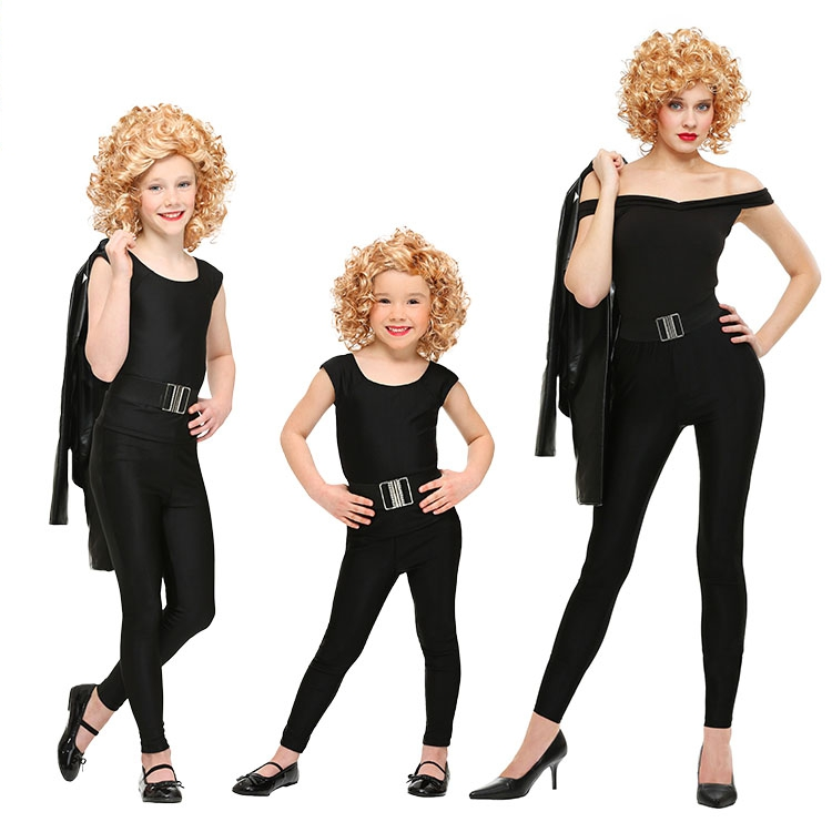 Hot Party Cosplay Costume COS Halloween Children 's Day Stage Play Costume Movie Grease Leader Badman Sandy Clothing
