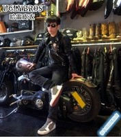 Uglybros мотоцикл кожаная куртка/кожаная куртка мотоцикла Винтаж Скелет/мужской женский куртка Slim/Размеры S 2XL