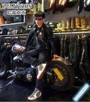 uglyBROS motorcycle leather jacket / leather jacket motorcycle vintage skeleton / Male Female Slim jacket / Size S 2XL