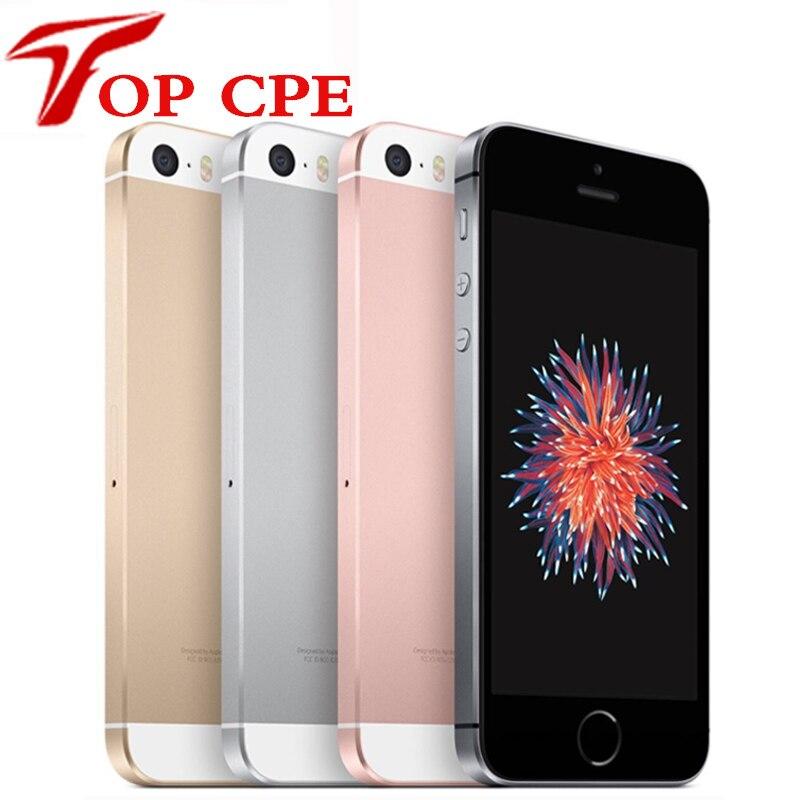 Apple iphone se original desbloqueado telefone móvel 16/64 gb rom 2g ram 4g lte toque id wifi gps duplo núcleo 4.0 polegada 12mp gps ios usado