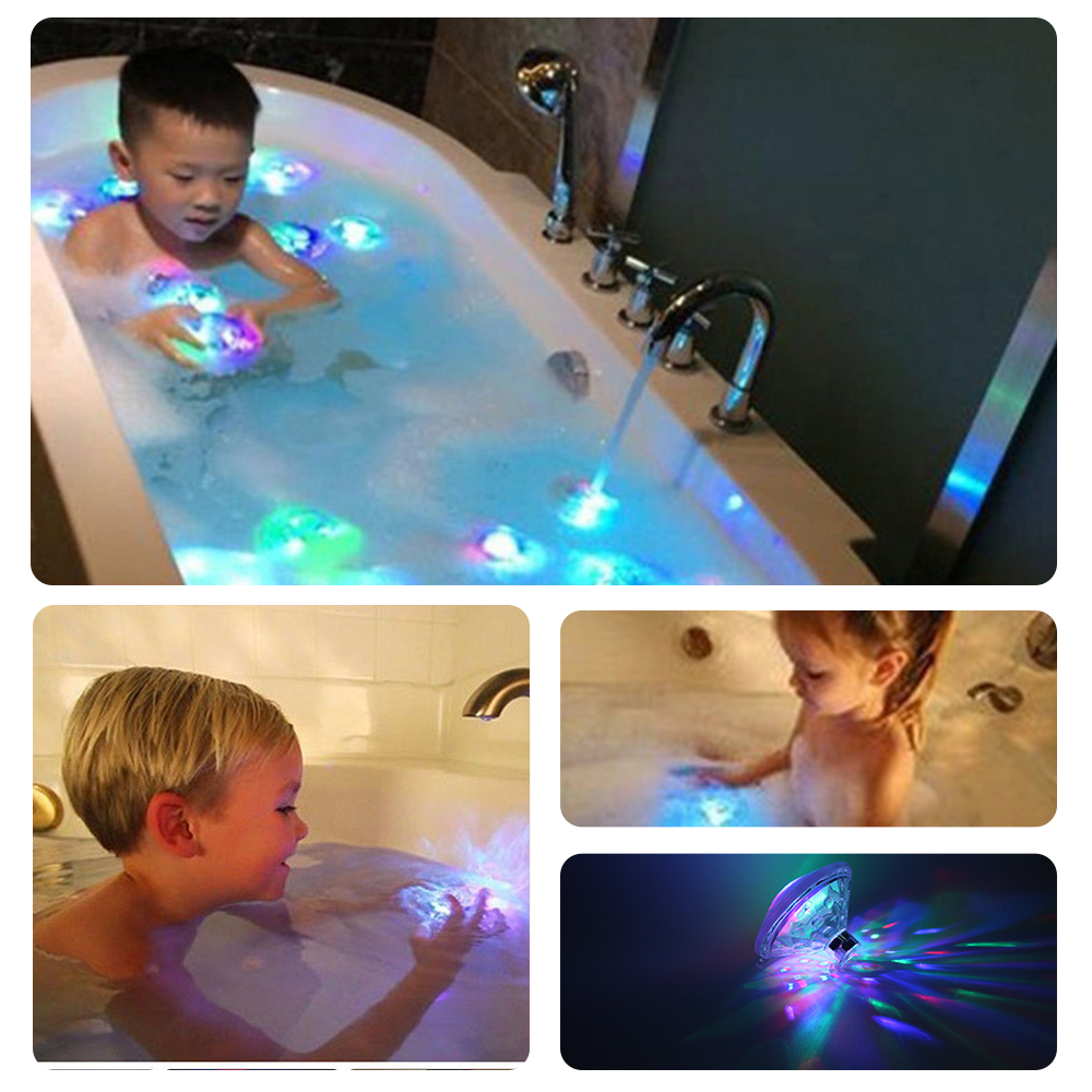 2Pcs Waterproof Novelty lights Bathroom LED Pool Light Kids Toys Children Baby Multicolor Underwater Floating Light Show