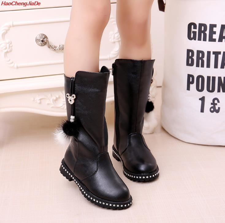 Image 4 - New Thick Winter Kids Combat Boots Girls Boys Plush Boots Girls Autumn High Boots Children Winter Snow Shoes size 27 37-in Boots from Mother & Kids