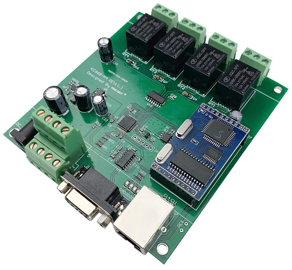 Ethernet Relay Control Module Lan Wan Network Web Server RJ45 RS232 Port 4 Channel TCP IP Switch DIY PCB Board Smart Home