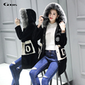 Gours Winter Womens Real Natural Fur Shearling Coats Fashion Girls Wool Jackets and Coats with Fox Fur Collar 2016 New Plus Size
