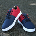 2016 new style patchwork canvas shoes men lace-up breathable round toe fashion flat shoes for men