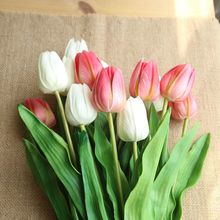 купить 46cm Long artificial Tulip Pu Latex simulation tulip  Bouquet Real Touch Flowers For Wedding Decorative display Flowers Wreath дешево