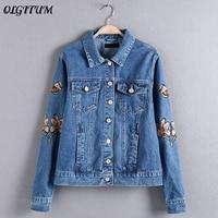 OLGITUM 2019 Spring New Women Blue Cotton Denim Jacket Light Washed female fashion flower embroidery casual lapel denim jeans