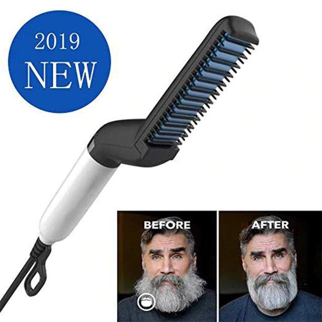 Barba plancha para hombres multifuncional Peine del pelo rizado volumen pelo mostrar tapa calefacción eléctrica cepillo peinado