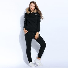 Women Pullover Hoodie Hooded Thicken Fleece Long Sleeve And Casual Drawstring Pant Set Warm Tracksuit Women