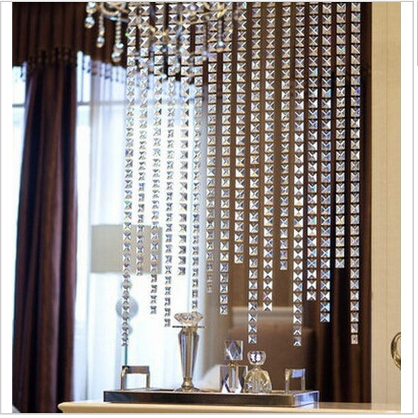 20meters crystal glass <font><b>square</b></font> beads chain door/window curtain decorative partition curtain finished porch window curtain