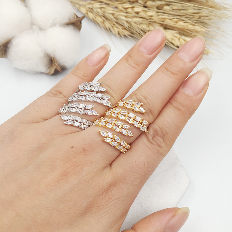 HADIYANA fashion AAA eye Cubic zirconia 4 lined wavy leaf ring brilliant trendy cute gift party accessaries CP286